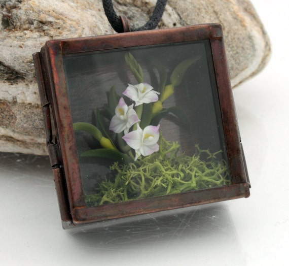 Orchid shadow box frame terrarium locket- Wild woodland pendant with realistic miniature polymer clay orchid and reindeer moss