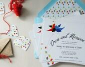 Plume Invite - Wedding Suite (blue, red)
