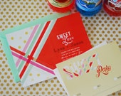 Stripes and Dots Invitation (red, mint, striped, polka dots)
