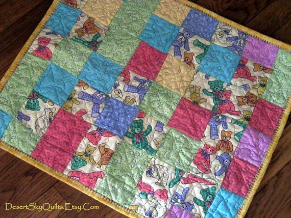Baby Quilt Teddy Bears Pink Blue Yellow Baby Bedding Crib Quilt
