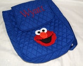 Personalized blue backpack with Elmo applique