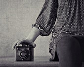 My Six-20, Square Print, Black and White Photography, Vintage Camera Print, Portrait Photography, Vintage Camera, Kodak Brownie, Industrial