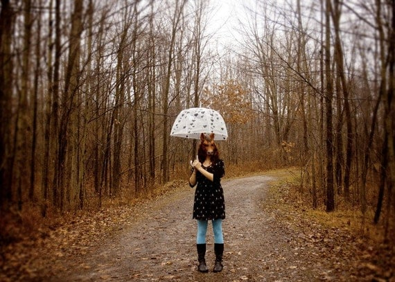Life as a Horse - 5x7 Fine Art Photography Print - portrait woods forest woodland girl female umbrella blue rain autumn fall surreal photo