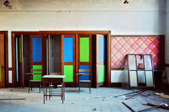 Vibrant Decay, 8x12 Print, Abandoned Building Photography, Neon, Detroit Art, Urban Exploration, Industrial Decor, Industrial Art, Vintage