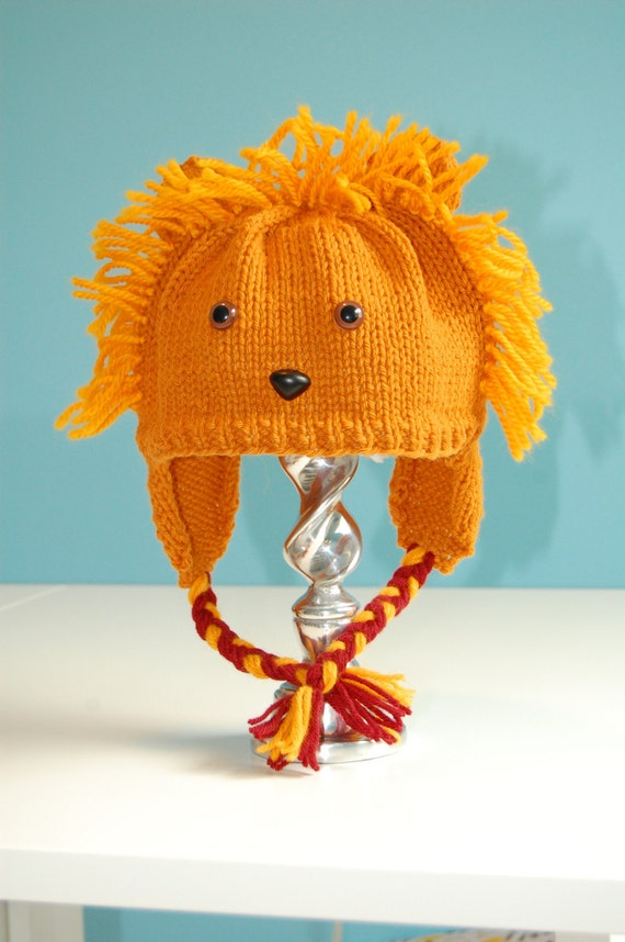 Luna Lovegood's Gryffindor Quidditch Lion Hat Knit Organic Wool Teen/Adult Size