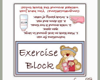 Exercise Block Topper - Digital Printable - Great Craft Show Seller - Immediate Download