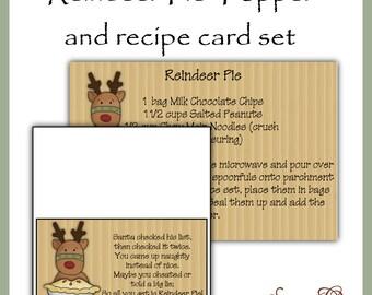 Reindeer Pie Topper and Recipe Card - Digital Printable - Immediate Download