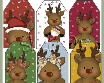 Whimsical Reindeer Tags - Set of 6 - CU Digital Printable - Immediate Download