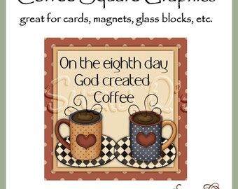 Coffee Square Graphics - Digital Printable - Great for glass blocks, tiles, cards, magnets, etc.- Immediate Download