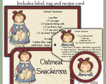 Make your own Oatmeal Snackeroos Mix in a Jar - Label, Tag and Recipe - Digital Printable Kit - Great Gift Idea - Immediate Download