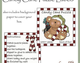 Candy Cane Puzzle Labels - Digital Printable - Great Craft Show Seller - Immediate Download