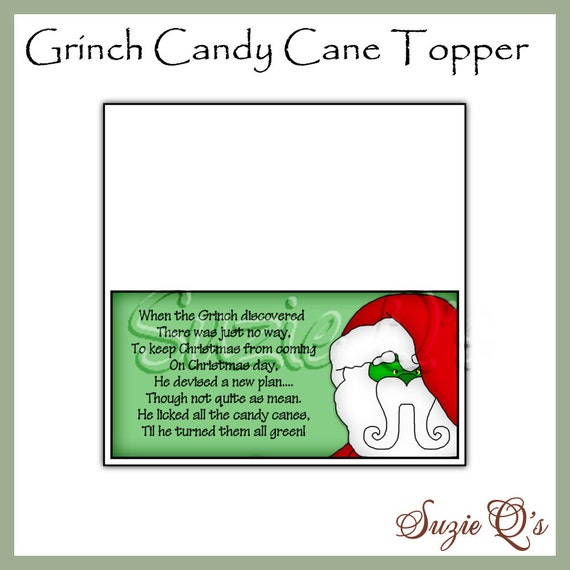 Grinch Candy Cane Toppers - Digital Printables - Immediate Download