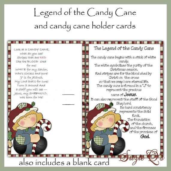 Legend Of The Christmas Tree Poem: Legend Of The Candy Cane Card Digital Printable Immediate