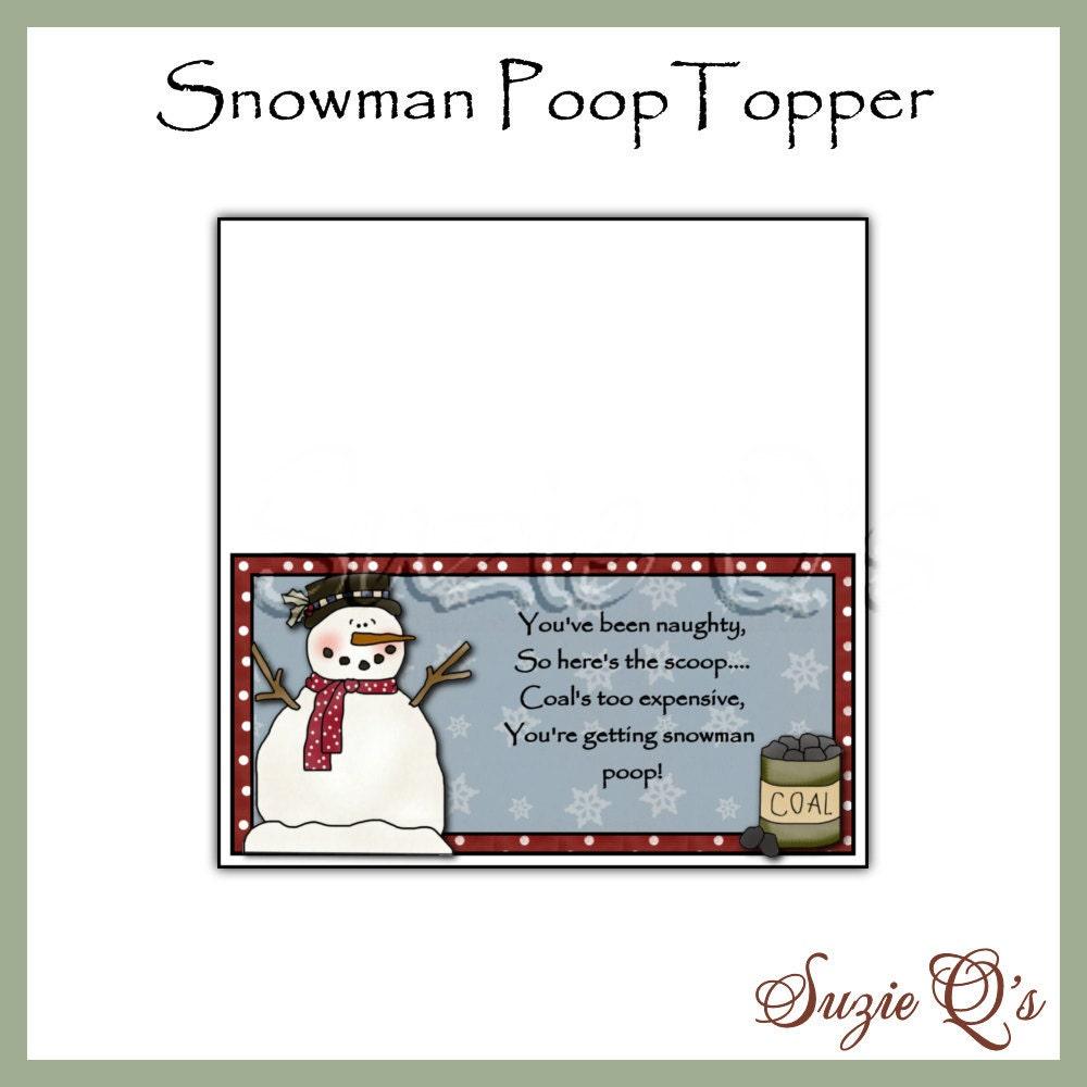 Snowman Poop Printable Labels Snowman poop topper - digital