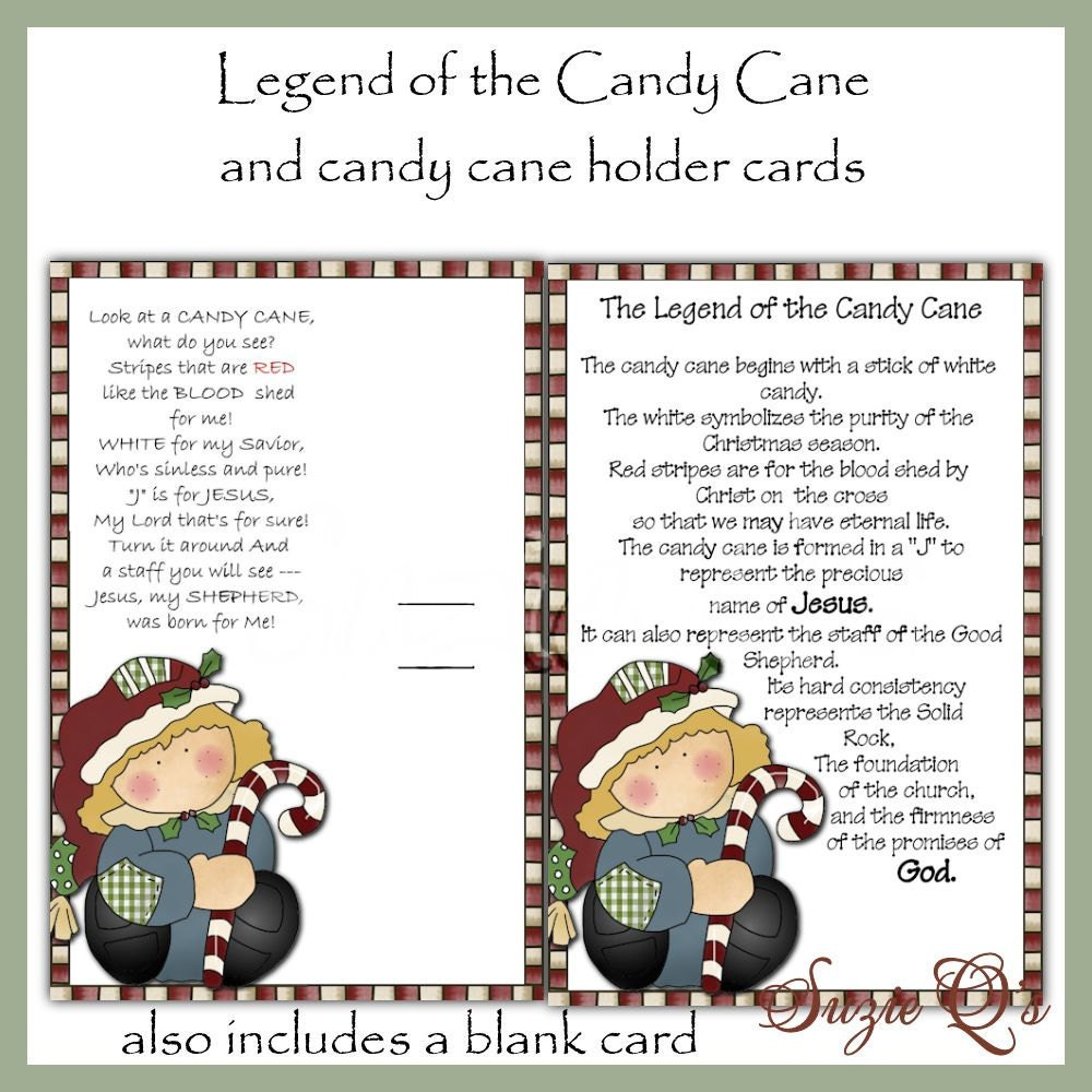 Legend of the Candy Cane Card Digital Printable Immediate