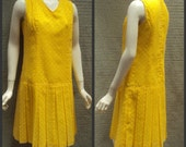 Vintage Sunny Yellow & White Polka Dot Drop Waist Sun Dress With Sheer Button up Jacket
