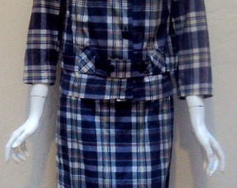 Vintage 1960's Rare Cotton Plaid Pencil Skirt and Jacket Suit by India Madras Bust 36