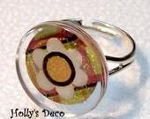 Pretty Plaid Deco Drop Ring