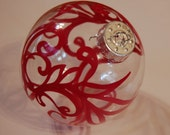 Hand Painted, Red Holiday Ornament