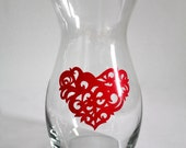 Hand Painted Glass Vase - Heart Design
