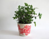 Adorable Red Painted Flower Pot, Abstract Design