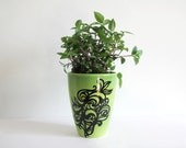 Beautiful Green Painted Flower Pot, Original Design