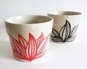 Set of 2 'Agave' Flower Pots, Hand Painted