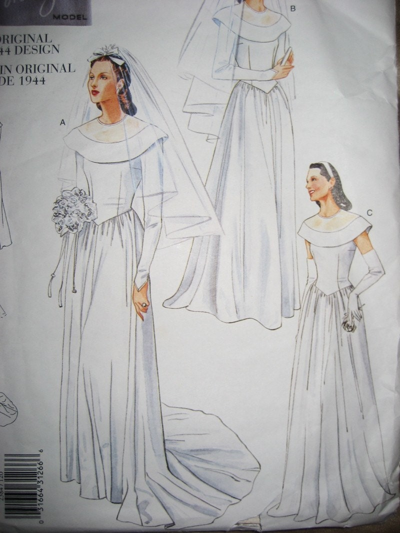Vogue vintage 1940 39 s wedding dress pattern 2384 12 14 16 for Wedding dress patterns vintage