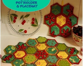 Hot Pad Pattern, Quilted Coaster Pattern, Placemat Pattern, Table Runner, Grandmother's Flower Garden Quilt as You Go PDF Pattern