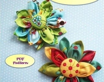 Fabric Flower Pattern, Kanzashi  Flower, Kanzashi Fabric Flower PDF Pattern, Easy to Make, Brooch, Pin, Bouquet,  Accessories