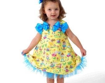 Girl Dress Pattern PDF SEW GIRLY, Size 12 months - 6 child Easy Beginner Sewing, Swirling Aline Dress
