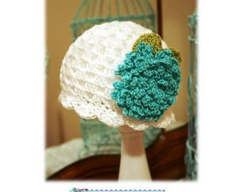 Crochet Hat Pattern with Fluffy Crochet Flower Combo Cloche Pattern, Beanie, PDF Epattern, Newborn-Adult Easy Fit