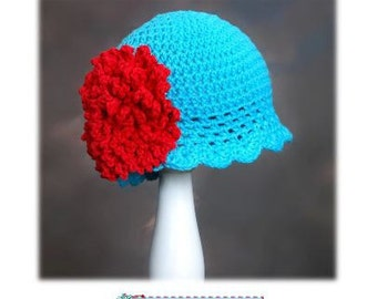 Crochet Hat Pattern with Fluffy Crochet Flower Combo Roaring 20's Pattern, Beanie, PDF Epattern, Sizes Newborn-Adult Easy Fit