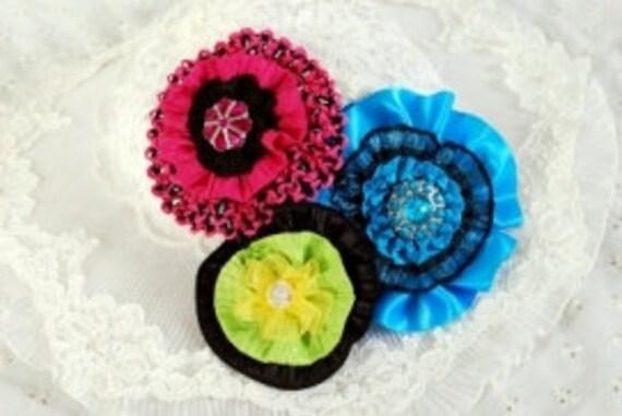 Ribbon Flower Tutorial PDF Pattern, Easy to Make, Brooch, Pin, Har Bow, Hat, Headband INSTANT DOWNLOAD