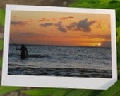 Happy Father's Day Greeting Card - Fisherman at Sunset