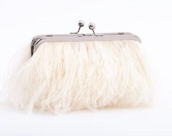Ostrich Feather Bridal Clutch -silver frame- Ivory, wedding clutch, custom, monogram