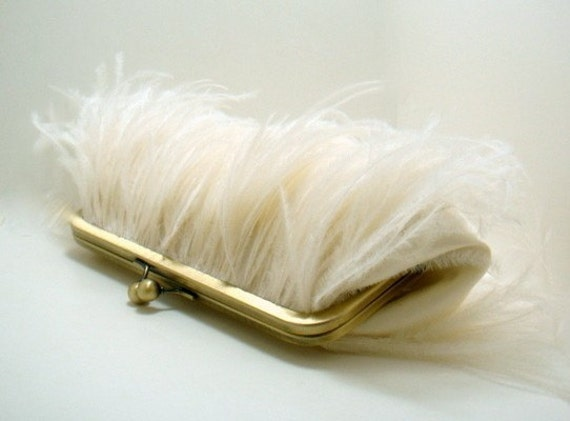 Ostrich Feather Bridal Clutch in Ivory and Gold
