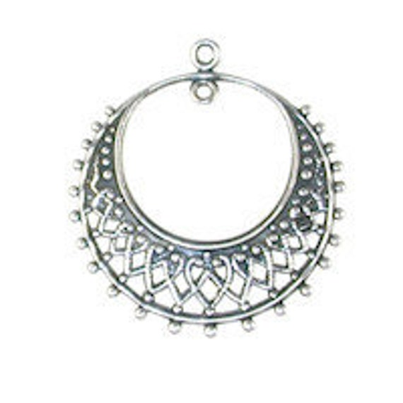 Trinity Brass Filigree Hoop- Antique Silver (2 pc)