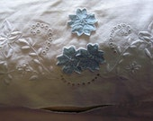 Vintage cotton bed bolster cover with ruffled ends....blue floral appliques