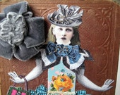 Mixed media collage on antique book cover, OOAK altered book original