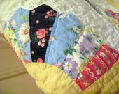 Antique quilt, vintage quilt with fan motif, yellow border, solid pink on reverse side....
