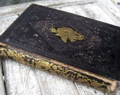 Antique book, The Rose of Sharon, 1852, gorgeous illustrations, embossed leather covers