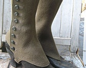 Antique vintage boots, black leather with spats, Victorian era boots, steampunk