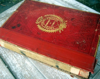 Antique vintage french history book, red leather covers, black and white illustrations, 1800's french book, shabby french antique book