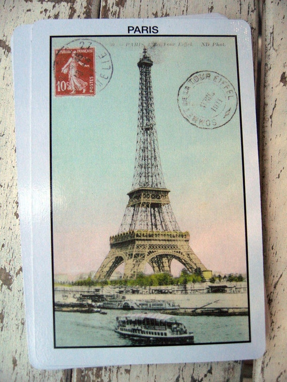 Reserved for Lisa.......Playing cards vintage look tinted Eiffel Tower Paris mixed media supplies