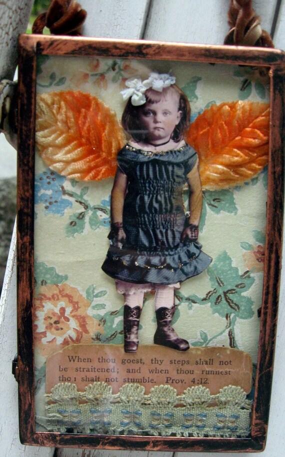 Mixed media original, fairy shadowbox, sweet angel with vintage wallpaper, antique gospel card