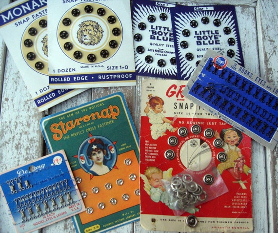 Vintage sewing notions, snaps, hooks and eyes