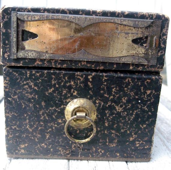 Antique file box, Globe-Wernicke Co., gorgeous brass label holder