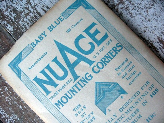 Vintage blue photo/mounting corners, retro office supplies, NuAce brand,  unopened package with cool graphics