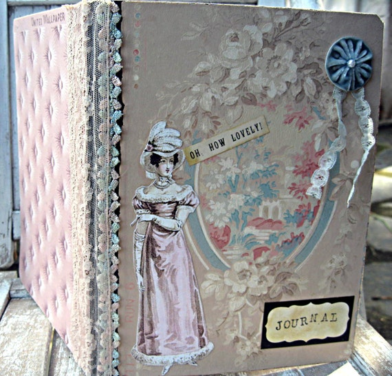 Handcrafted Vintage Style Journal Jane Austen Theme Ooak